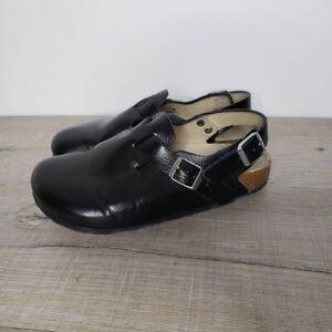 Birkenstock Tokio Super Grip Classic Leather Comfort Clogs Womens Size 37 Black