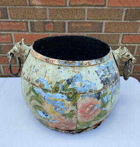 Unusual Antique Indian Eastern Painted Iron Cauldron With Horse Head Handles