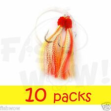 10packs 5/0 Yellow Red Fishing Shrimp Fly Rigs Krystal flash Rockfish Rock Cod