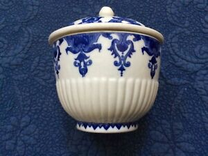 Blue and white covered pot