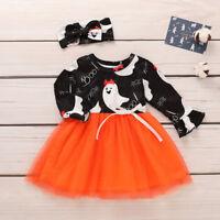 Toddler Baby Kid Girls Devil Print Splice Tutu Dress Long Sleeve Halloween Dress