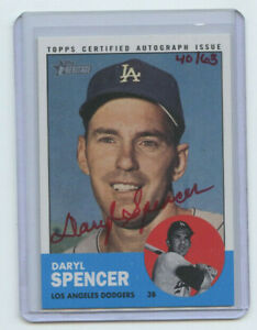 2012 TOPPS HERITAGE RED AUTOGRAPH DARYL SPENCER #40/63 LOS ANGELES DODGERS