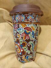 Longaberger Pottery Vitrified Hot Cold Travel Tumbler w/lid paisley floral Euc