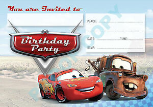 #37 CARS Pack of 10 kids children birthday party INVITATIONS