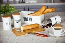 4pc Kitchen storage Set Bread Bin Sugar Coffee Tea Canisters Bamboo Lid