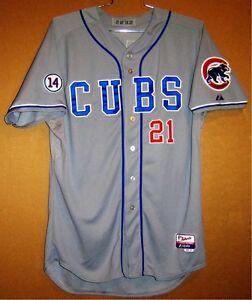 2014 CHICAGO CUBS JUNIOR LAKE GAME WORN GRAY #21 MLB Size 48 Baseball JERSEY