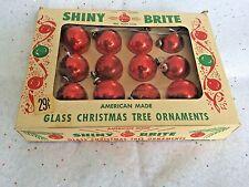 12 VTG .29 CENT BOX Shiny Brite Feathertree Glass Christmas Tree Ornaments SMALL