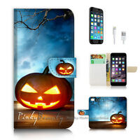 ( For iPhone 7 ) Wallet Case Cover P2235 Halloween Pumpkin