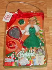 2005 Happy Holidays Gift Set - Barbie GREEN Dress-Vanity Set & Jewelry