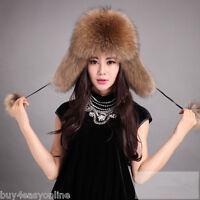 Top Warm New Real Raccoon Fur Hat Russian Style Cap Women Men Winter Ski Trooper