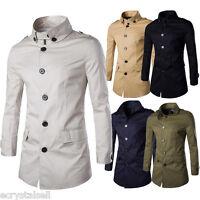 Men's Long Jacket Parka Stylish Slim Outwear Trench Formal Coat Peacoat Overcoat