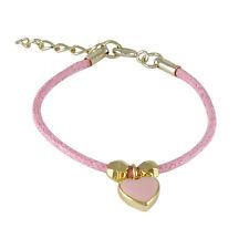 "Gold Plated Light Pink Enamel Heart Cord Kids Charm Bracelet 5"" Long + 1"" Ext."