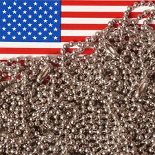"""Lot of 10 Nickel Plated 18"""" Ball Chain Necklaces, 2.4mm #3 Bead, MADE IN USA"""