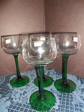 Luminarc Verrerie D Arques crystal wine glasses CLEAR/green France SET OF 4