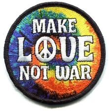 MAKE LOVE NOT WAR tie dye swirl/peace sign EMBROIDERED PATCH Iron-on or sew 3481