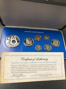 1977 Solomon Islands Coin of the Realm Proof Set. Franklin Mint. $5 Is Sterling