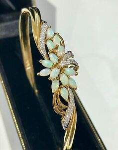 Diamonds & Genuine Opal Bangle - Security Clasp - 9ct Yellow Gold  - 9.87grams