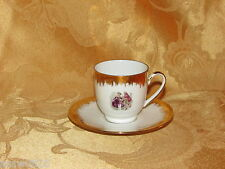 VINTAGE DEMITASSE CUP & SAUCER ROMANTIC LOVE STORY BAVARIA DECORATED IN ITALY