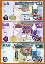 SET, Zambia, 2;5;10 Kwacha, 2012 (2013), P-New, UNC > New Revalued Currency