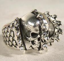 SPIKE SPLIT SKULL HEAD BIKER RING mens jewelry BR270 silver rings  BIKER NEW men