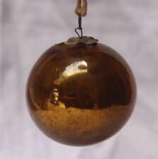 Vintage Glass Original Golden Christmas Kugel,japan K 04