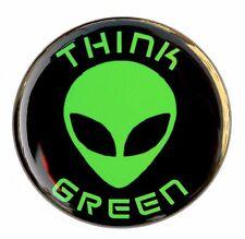 "THINK GREEN ALIEN - Button Pinback Badge 1.5"" Sci-Fi UFO"