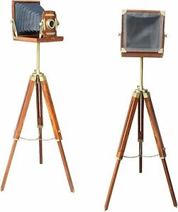 Marine Wood & Aluminium Camera w/ Tripod Stand FatherDay Antique Style Decor