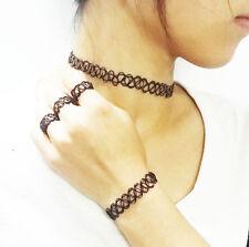 1 Set Retro Stretch Tattoo Choker Necklace Bracelet Ring Black Elastic Boho Punk