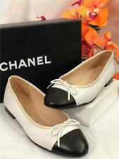 CHANEL Classic CC Logo Cap Toe Ivory/Black Leather Ballerina Flats US 5B/EU 35.5