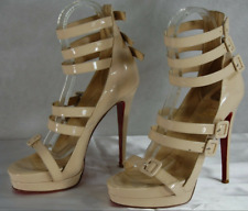 CHRISTIAN LOUBOUTIN DIFFERA NUDE PATENT LEATHER GLADIATOR SANDALS EU 40 US 10