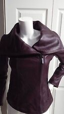 New Women Michael Kors Leather Wing-Collar Jacket Size XS