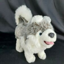 Realistic Alaskan Husky Siberian Malamut Plush Puppy Dog 12 inches Stands Tongue