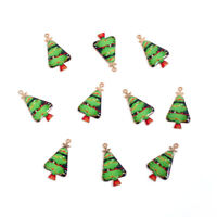 10 Colourful Gold Plated Christmas Tree Charm Pendants with Enamel Detail
