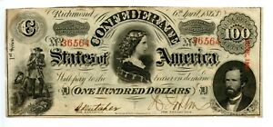 1863   $100        Confederate  Currency  T-56