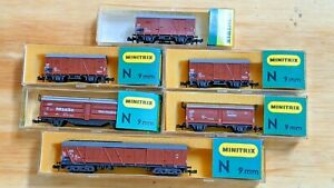KHS- Minitrix N Scale 6 Piece Burgundy Closed Top Freight Car Set - 347
