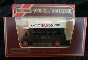 MATCHBOX MODELS of YESTERYEAR Y-23 1922 AEC OMNIBUS LESNEY HAIGH WHISKY in BOX
