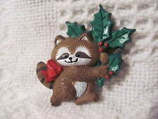 Christmas Hallmark Holiday Pin 1986 Raccoon With Red Bow Holding Holly Branch