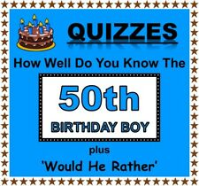 Fun Party Games 'How Well Do You Know 50th Birthday Boy' + 'Would He Rather'
