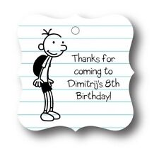 24 Diary of a Wimpy Kid Personalized Birthday Party Favor Tags