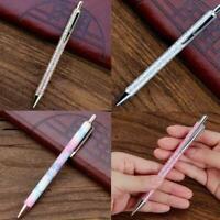 Luxury Metal Ballpoint Pen 1mm Black Ink Gel Pen Office Stationery Writing O4O2