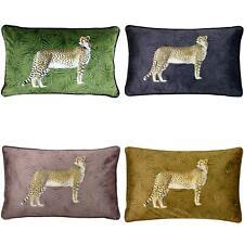 Velvet Cushion Covers Cheetah Forest Print Boudoir Cushions Cover by Paoletti