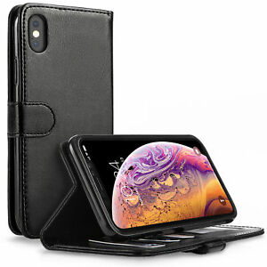 BLACK PU LEATHER FLIP WALLET CASE FOR iPHONE XS MAX WITH FREE SCREEN PROTECTOR