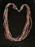 Artisan Silver Tone Black PinK Glass Bead Multi Strand Tribal Necklace
