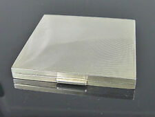 schöne, silberne Puderdose - gravierter Streifen-Dekor - 925er Sterling Silber