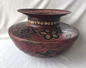 Vtg Hammered Metal Riveted Water Pot Vase Planter Hand Painted Floral