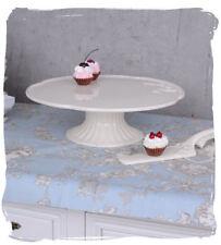 Plat à gâteau avec pied plat de service SHABBY CHIC PLAQUE DE GÂTEAU BLANC