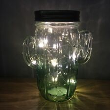 Glass Cactus Lantern Lamp with LED Fairy Lights Bell Jar Quirky Fun Trend 14cm
