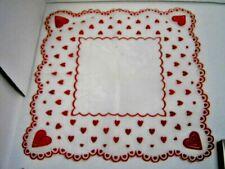 "Vintage Valentine Hearts 13"" Sq. Ladies' Nylon Handkerchief Fuzzy Decor c.1950"