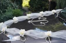 wedding car decoration , ribbon kit , bows, garland wedding flowers white ivory