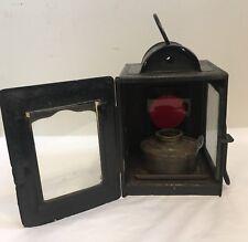 Antique Vintage Road Railway Bicycle Signal Lamp Lantern Red Glass & Oil Burner